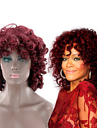cheap -Synthetic Wig Curly Afro Curly Asymmetrical Wig Medium Length Burgundy Synthetic Hair 14 inch Women's Best Quality Burgundy