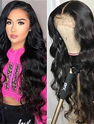 cheap -Human Hair 4x13 Closure Wig style Brazilian Hair Body Wave Natural Wig 130% Density Smooth Women Comfortable Wedding Natural Hairline Women's Medium Length Human Hair Lace Wig