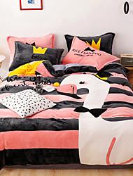 cheap -Cartoon Flannel Duvet Cover Set Queen Bedding Cover Set Boys Girls Duvet Comforter Cover Set Luxury Soft Queen Duvet Cover Set