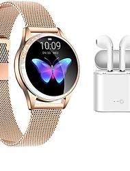 Недорогие -трекер фитнеса bluetooth нержавеющей стали kw20 smartwatch с беспроволочными наушниками для телефонов samsung / ios / android