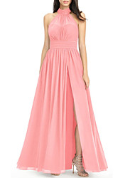 cheap -A-Line High Neck Ankle Length Chiffon Bridesmaid Dress with Split Front / Ruching