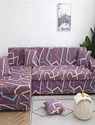 Недорогие -фиолетовые геометрические полосы печати пыленепроницаемые всесильные чехлы на растягивающиеся чехлы для дивана в форме буквы l мягкая тканевая крышка дивана с одной бесплатной наволочкой