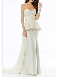 cheap -A-Line Strapless Sweep / Brush Train Charmeuse Strapless Plus Size Wedding Dresses with Beading / Draping 2020