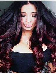 cheap -Synthetic Wig Curly kinky Straight Asymmetrical Wig Long Black / Burgundy Synthetic Hair 27 inch Women's Best Quality Burgundy