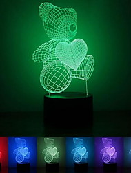 cheap -3D Teddy Bear Night Light 7 Colors Visual Illusion LED Lamp Christmas Gift for Kids Baby Bedside Table Home Bedroom Decor Art 3D Lights for Birthday Holidays Gift
