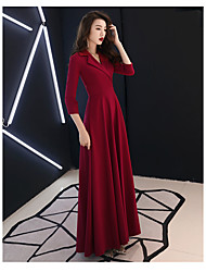 cheap -A-Line Elegant Wedding Guest Prom Formal Evening Dress V Neck 3/4 Length Sleeve Floor Length Satin Jersey with 2020