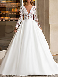 cheap -A-Line Wedding Dresses V Neck Sweep / Brush Train Lace Satin Long Sleeve Plus Size with Lace Insert 2020