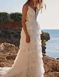 cheap -A-Line V Neck Sweep / Brush Train Chiffon / Lace Spaghetti Strap Boho Wedding Dresses with Cascading Ruffles 2020