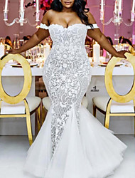 cheap -Mermaid / Trumpet Wedding Dresses Off Shoulder Sweep / Brush Train Lace Tulle Cap Sleeve Plus Size with 2020