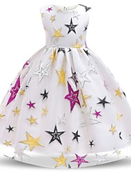 cheap -Kids Little Girls' Dress Geometric White Black Dresses