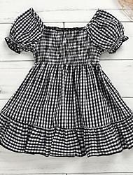 cheap -Baby Girls' Basic Houndstooth Short Sleeve Dress Black