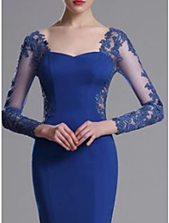 cheap -Mermaid / Trumpet Jewel Neck Floor Length Jersey Long Sleeve Elegant Mother of the Bride Dress with Lace / Appliques 2020