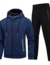 cheap -Men's 2-Piece Full Zip Tracksuit Sweatsuit Casual Long Sleeve Front Zipper Thermal / Warm Breathable Soft Running Fitness Jogging Sportswear Athletic Clothing Set Athleisure Wear Red Blue Gray