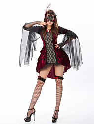 cheap -Vampire Dress Cosplay Costume Adults' Women's Outfits Halloween Halloween Masquerade Festival / Holiday Tulle Polyster Black Carnival Costumes Patchwork
