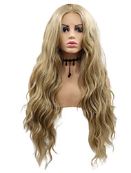 cheap -Synthetic Lace Front Wig Wavy Layered Haircut Lace Front Wig Blonde Medium Length Light golden Synthetic Hair 26 inch Women's Party Women Blonde Sylvia
