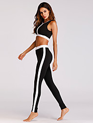 cheap -Women's 2-Piece Side-Stripe Activewear Set Workout Outfits Athletic 2pcs High Waist Nylon Breathable Quick Dry Soft Fitness Gym Workout Running Jogging Sportswear Sport Bra With Running Pants Black