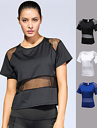 cheap -Women's Running Shirt Blouse Patchwork Fashion Black White Royal Blue Mesh Yoga Fitness Gym Workout Tee / T-shirt Short Sleeve Sport Activewear Lightweight Breathable Quick Dry High Elasticity Loose