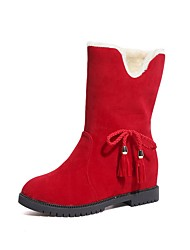 cheap -Women's Boots Flat Heel Round Toe Suede Mid-Calf Boots Winter Red / Khaki / Black