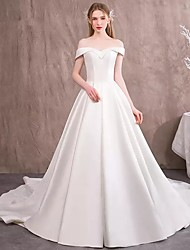 cheap -A-Line / Ball Gown V Neck / Off Shoulder Chapel Train Polyester Short Sleeve Made-To-Measure Wedding Dresses with 2020