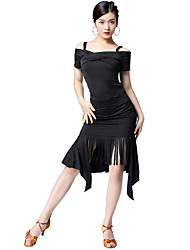 cheap -Latin Dance Dresses Women's Party / Performance Milk Fiber Tassel / Split Short Sleeve Natural Dress