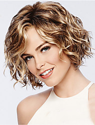cheap -Synthetic Wig Curly Asymmetrical Wig Short Golden Brown#12 Synthetic Hair 11 inch Women's Best Quality curling Blonde