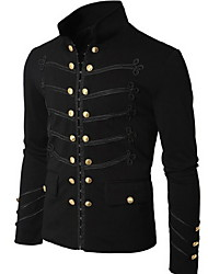 cheap -Men's Daily Fall & Winter EU / US Size Regular Jacket, Solid Colored Stand Long Sleeve Polyester Black / Gray