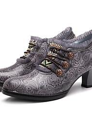 cheap -Women's Heels Low Heel Round Toe PU Fall & Winter Brown / Red / Gray