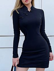 cheap -Women's Mini Black Dress Sheath Solid Colored S M