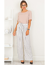 cheap -Women's Basic / Sophisticated Wide Leg / Chinos Pants - Striped Black & White, Stripe White S M L