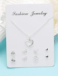 cheap -Women's Necklace Earrings Heart Simple Korean Sweet Fashion Earrings Jewelry Silver For Gift Daily School Work Festival 1 set