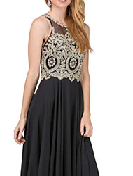 cheap -A-Line Jewel Neck Floor Length Tulle / Jersey Bridesmaid Dress with Embroidery / Appliques / Ruching