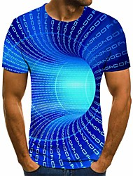 cheap -Men's Graphic 3D Plus Size T shirt Short Sleeve Daily Tops Basic Round Neck Blue Purple Yellow