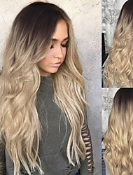 cheap -Synthetic Wig Body Wave Asymmetrical Wig Long Blonde Synthetic Hair 27 inch Women's Best Quality Blonde