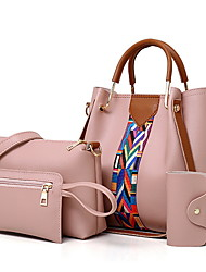 cheap -Women's Bags PU Leather Bag Set 4 Pieces Purse Set Zipper Solid Color Daily White Black Red Blushing Pink