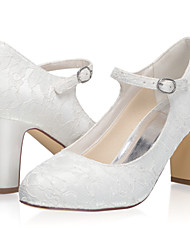 cheap -Women's Wedding Shoes Chunky Heel Closed Toe Lace Sweet Spring & Summer / Fall & Winter Ivory
