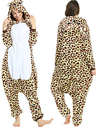 cheap -Adults' Leopard Bear Kigurumi Pajamas Onesie Pajamas Polar Fleece Brown Cosplay For Animal Sleepwear Cartoon Halloween Festival / Holiday / Christmas