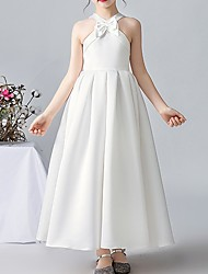 cheap -A-Line V Neck Ankle Length POLY Junior Bridesmaid Dress with Bow(s)