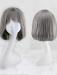 cheap -Synthetic Wig Curly Bob Neat Bang Wig Short Grey Synthetic Hair 13 inch Women's Best Quality Gray