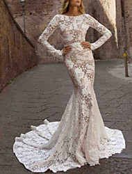 cheap -Mermaid / Trumpet Bateau Neck Sweep / Brush Train Lace Long Sleeve Romantic See-Through Made-To-Measure Wedding Dresses with 2020