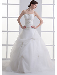 cheap -A-Line Wedding Dresses Strapless Court Train Organza Satin Strapless with Pick Up Skirt Ruched Beading 2020 / Embroidery