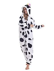 cheap -Adults' Kigurumi Pajamas Milk Cow Animal Onesie Pajamas Polar Fleece White Cosplay For Men and Women Animal Sleepwear Cartoon Festival / Holiday Costumes / Leotard / Onesie / Leotard / Onesie