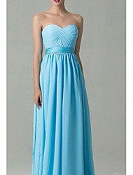 cheap -A-Line Sweetheart Neckline Floor Length Chiffon Bridesmaid Dress with Ruching