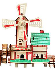 abordables -Puzzles en bois Jeux de Logique & Casse-tête Moulin à vent Maison Fait à la main Interaction parent-enfant En bois 1 pcs Enfant Adulte Tous Jouet Cadeau