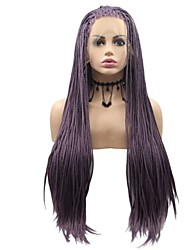 cheap -Synthetic Lace Front Wig Plaited Braid Lace Front Wig Medium Length Purple Synthetic Hair 26 inch Women's Women Faux Locs Wig Purple Sylvia