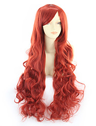 cheap -Synthetic Wig Curly Asymmetrical Wig Very Long Watermelon Red Synthetic Hair 31 inch Women's Red