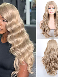 cheap -Synthetic Lace Front Wig Wavy Middle Part Lace Front Wig Long Golden Brown / Ash Blonde Synthetic Hair 18-26 inch Women's Cosplay Soft Adjustable Blonde