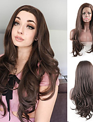 cheap -Synthetic Lace Front Wig Body Wave Side Part Lace Front Wig Long Chestnut Brown Synthetic Hair 18-26 inch Women's Heat Resistant Synthetic Easy dressing Dark Brown / Natural Hairline