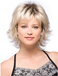 cheap -Synthetic Wig Curly Asymmetrical Wig Short Tipped Medium Brown with Blonde Synthetic Hair 11 inch Women's White