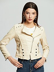 cheap -Women's Daily Spring &  Fall Short Leather Jacket, Solid Colored Stand Long Sleeve PU Black / Blushing Pink / Yellow