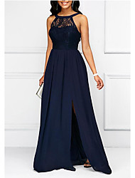 cheap -A-Line Elegant Wedding Guest Prom Formal Evening Dress Halter Neck Sleeveless Floor Length Chiffon with Pleats Split Front 2020